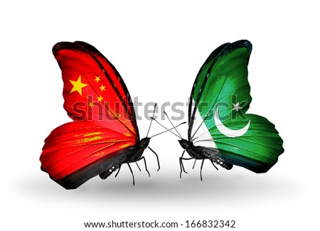 Two butterflies with flags on wings as symbol of relations China and Pakistan - stock photo