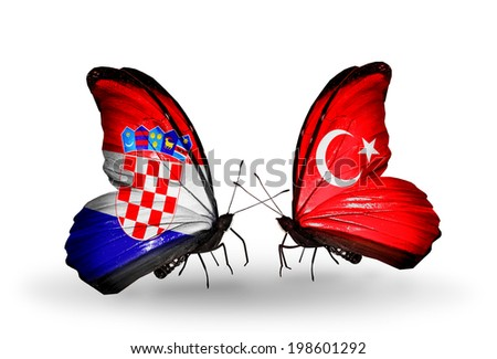 Two butterflies with flags on wings as symbol of relations Croatia and Turkey - stock photo
