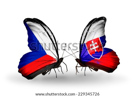Two butterflies with flags on wings as symbol of relations Czech and Slovakia - stock photo
