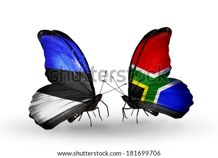 Two butterflies with flags on wings as symbol of relations Estonia and South Africa - stock photo