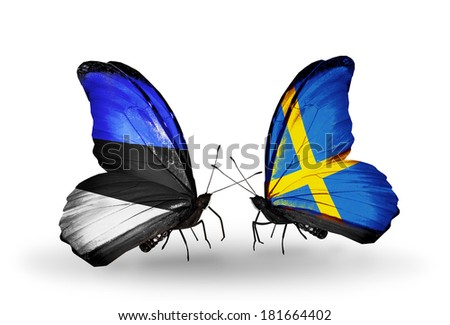 Two butterflies with flags on wings as symbol of relations Estonia and Sweden - stock photo