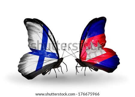 Two butterflies with flags on wings as symbol of relations Finland and Cambodia - stock photo