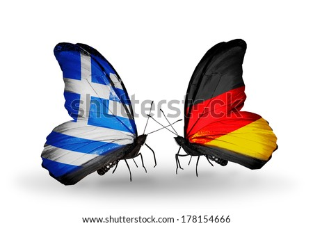 Two butterflies with flags on wings as symbol of relations Greece and Germany - stock photo