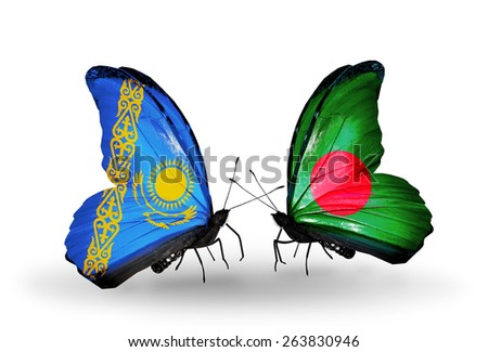 Two butterflies with flags on wings as symbol of relations Kazakhstan and Bangladesh - stock photo