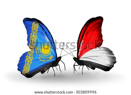 Two butterflies with flags on wings as symbol of relations Kazakhstan and Indonesia, Monaco - stock photo