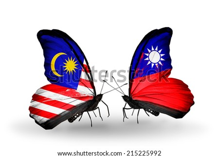 Two butterflies with flags on wings as symbol of relations Malaysia and Taiwan - stock photo