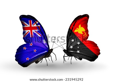Two butterflies with flags on wings as symbol of relations New Zealand and Papua New Guinea - stock photo