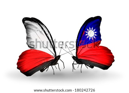 Two butterflies with flags on wings as symbol of relations Poland and Taiwan - stock photo