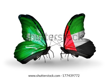 Two butterflies with flags on wings as symbol of relations Saudi Arabia and UAE - stock photo