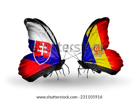 Two butterflies with flags on wings as symbol of relations Slovakia and Andorra - stock photo