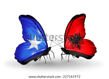 Two butterflies with flags on wings as symbol of relations Somalia and Albania - stock photo
