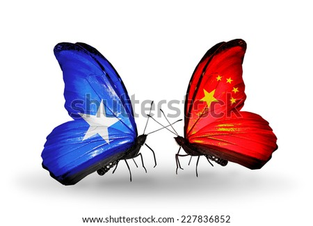 Two butterflies with flags on wings as symbol of relations Somalia and China - stock photo