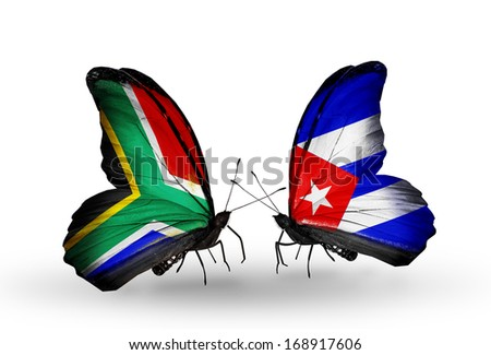 Two butterflies with flags on wings as symbol of relations South Africa and Cuba - stock photo