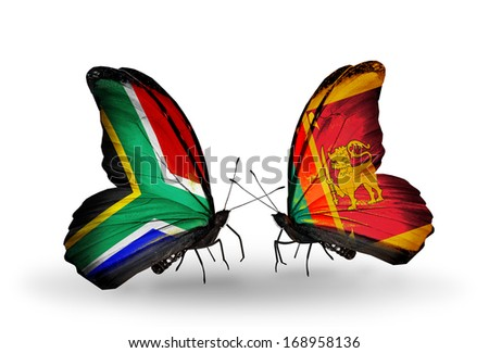 Two butterflies with flags on wings as symbol of relations South Africa and  Sri Lanka - stock photo