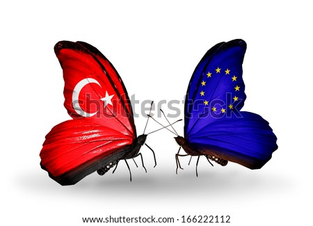 Two butterflies with flags on wings as symbol of relations Turkey and EU - stock photo
