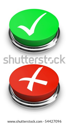 Two buttons - one with a check mark for a positive answer, and one with an x for a negative answer - stock photo