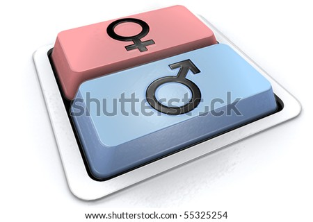 two buttons, two sexes, two kind of life - stock photo