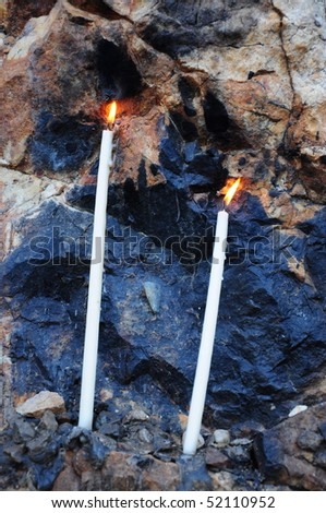 two candles for wish - stock photo