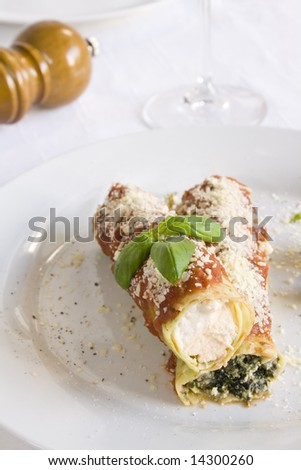 Two cannelloni filled with ricotta and spinach. Focus on the ricotta cannelloni. - stock photo