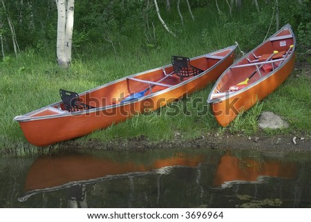 Two canoes rest on the shore in the summer.