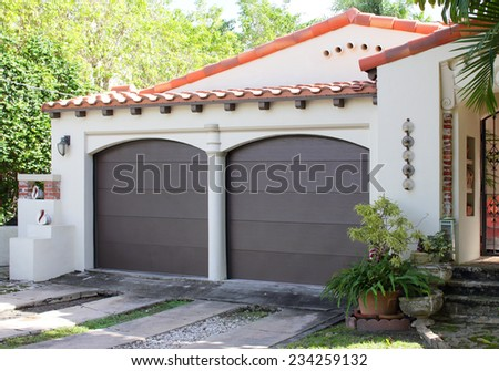 Two car garage - stock photo