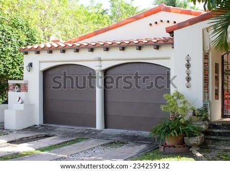 Two car garage - stock photo