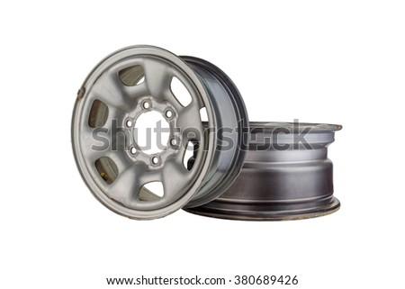 Two Car wheel, Car alloy rim on white background, Wheel isolated on white - stock photo