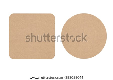Two Cardboard Beer Coasters on a white background - stock photo