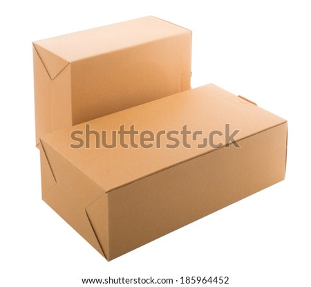 Two cardboard box isolated on white - stock photo