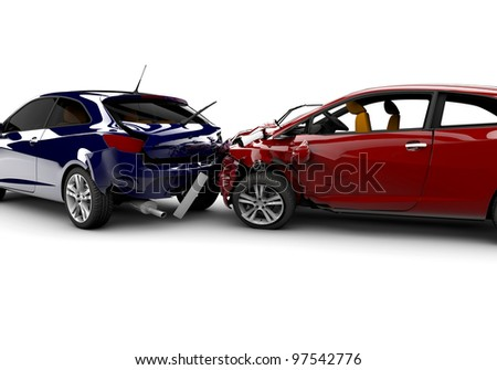 Two cars in an accident isolated on a white background - stock photo
