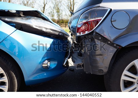 Two Cars Involved In Traffic Accident - stock photo