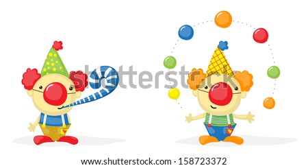 two cartoon clowns, one of them juggling with balls - stock photo