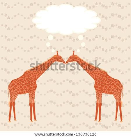 Two cartoon giraffes over stripy background. Raster version. - stock photo