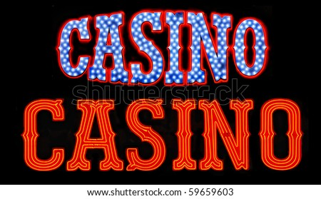 Two casino neon signs isolated on black background - stock photo