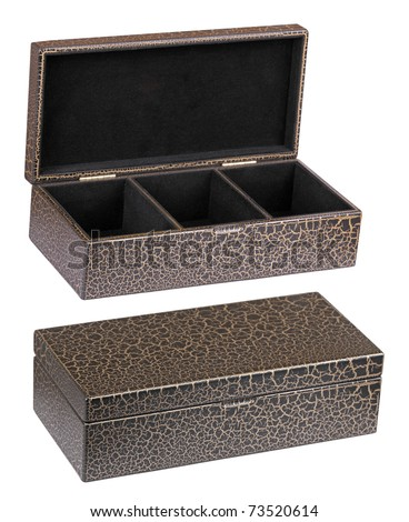 Two caskets - opened and closed, it is isolated on a white background - stock photo
