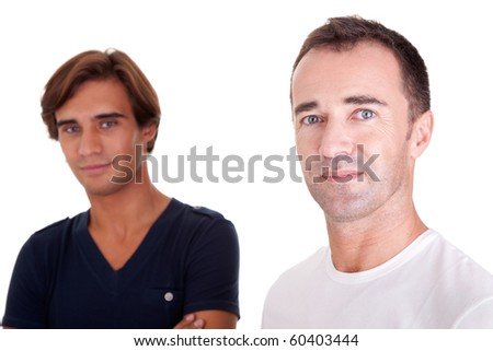 two casual men, isolated on white, studio shot - stock photo