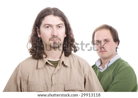 Two casual men posing, isolated over white background