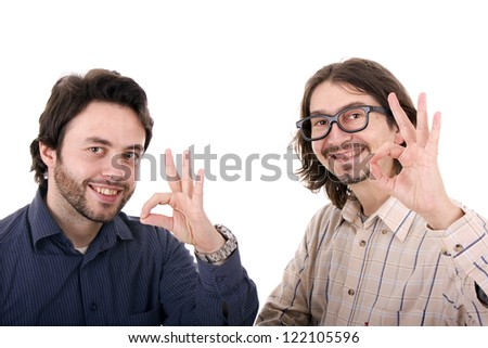Two casual young men portrait isolated on white background - stock photo