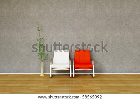 Two chair in red and white with plant - stock photo