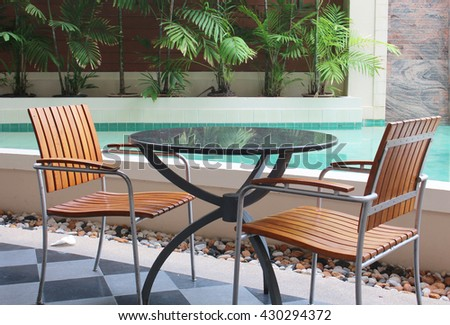 two chair with one table beside with the pool garden