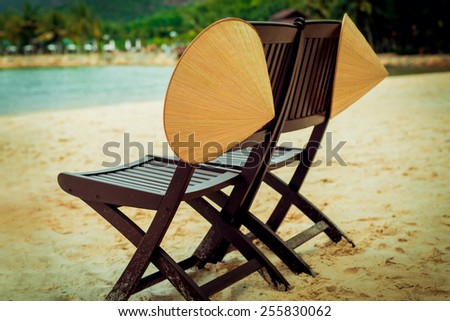 Two chairs on the beach. Relax. Vietnam - stock photo