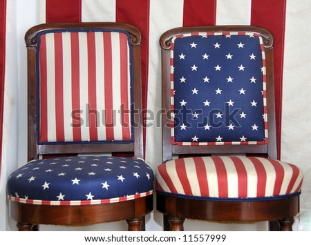 Two chairs with American flag