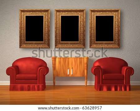 Two chairs with wooden console and picture frames in minimalist interior - stock photo
