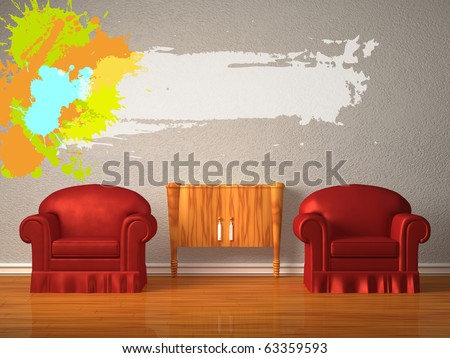 Two chairs with wooden console and splashes in minimalist interior - stock photo