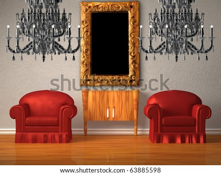 Two chairs with wooden console and two chandeliers with modern frame in minimalist interior