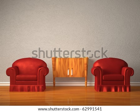 Two chairs with wooden console in minimalist interior - stock photo