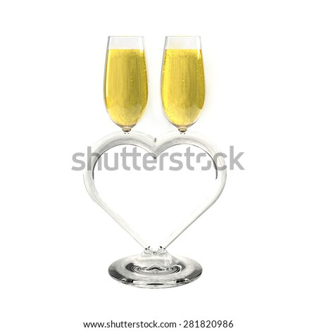 Two champagne glasses heart shaped on a white background which symbolizes love. - stock photo