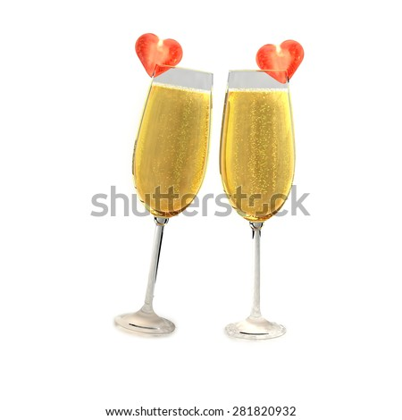Two champagne glasses with two tomatoes on a white background which symbolizes love. - stock photo