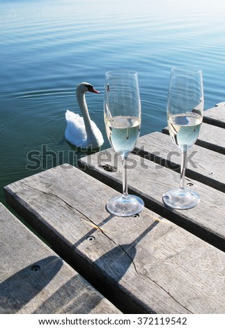 Two champaigne glasses on a wooden jetty against a swan