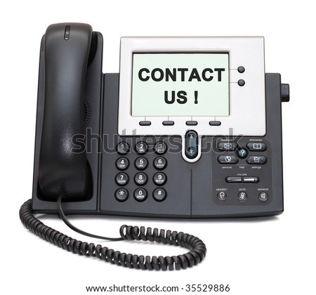 """Two-channel IP Phone with """"Contact us!"""" sign on display - stock photo"""